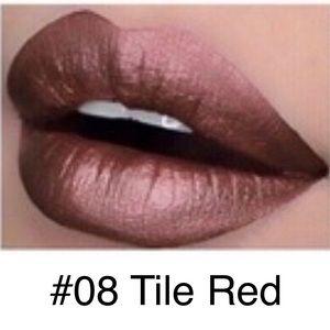 5/$25 NEW #08-Tile Red Metallic Lasting Lipstick